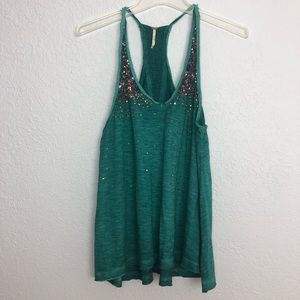 Free People Sequin Burnout Tank Teal Multicolor